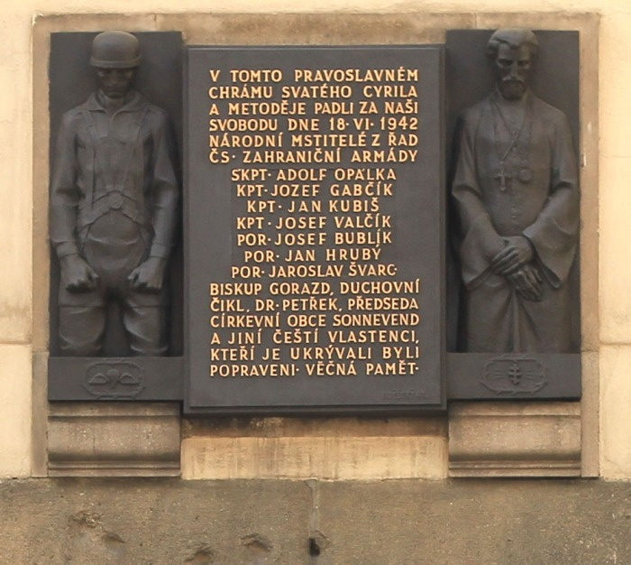 Memorial_plague_on_St.Cyril_and_Method_orthodox_church_in_Resslova_street_in_Prague,_where_the_members_of_paratroup_group_died_in_fight_with_Germans