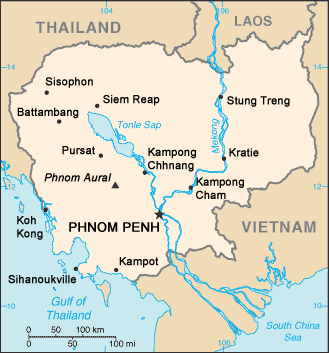 Kambodschakarte